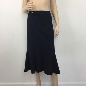 Lauren Ralph Lauren Navy Flare Hem Midi Skirt 12